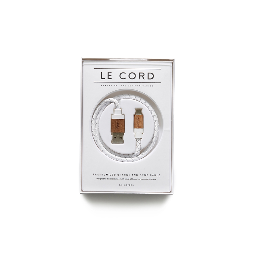 [LE CORD] USB charge white leathe & light wood micro cable - AOS