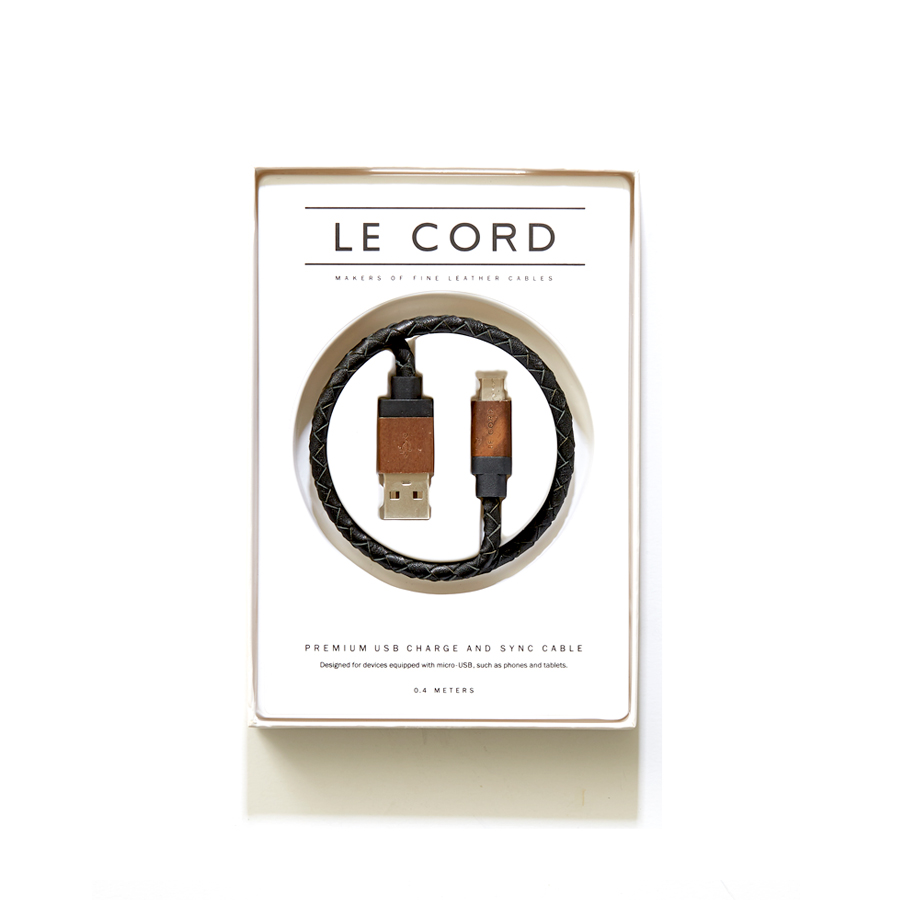 [LE CORD] USB charge black leathe & dark wood cable