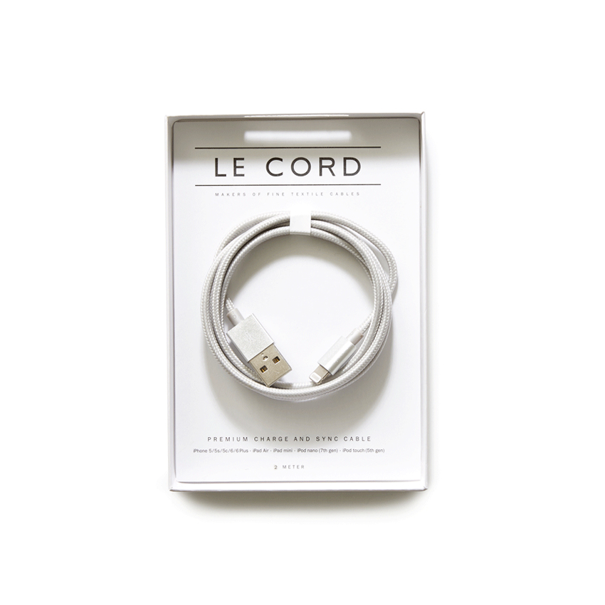 [LE CORD] USB charge solid silver cable - 2M