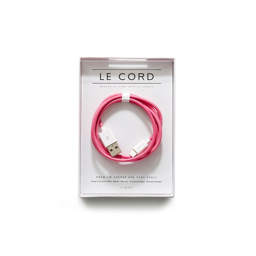 [LE CORD] USB charge solid pink cable